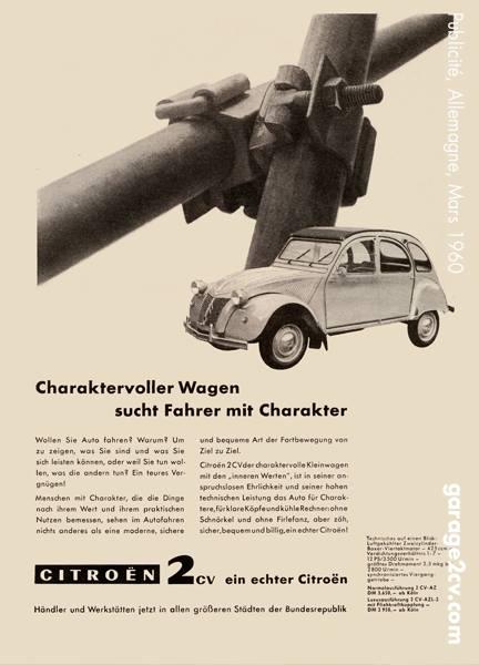 "Voiture de caractère / Charaktervoller Wagen: Publicité 2CV allemande / 2CV Werbung (1960) dans l'ouvrage / aus dem Buch ""Citroën 2CV - Die Ente in Deutschland"" - Disponible chez / erhältlich bei: http://edition.garage2cv.de/"