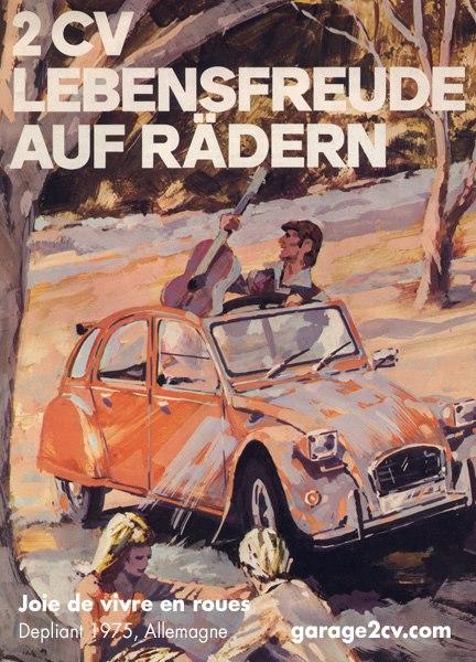 Erstmals kommen 1975 viereckige Scheinwerfer an die Ente, doch sind unbeliebt und verschwinden 1987 wieder. 2CV: Joie de vivre en roues / Lebensfreude auf Rädern Depliant allemand, 1975 / Verkaufsprospekt 1975