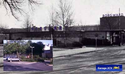An der Pförtnerei vorbei geht 1960 der Blick auf das bekannte Borgward-Hauptgebäude. Kleines Bild: Ähnliche Perspektive 1990. Beide Gebäude gehören noch zum Bestand. Bilder: Lodders / Jan Eggermann / Archiv Garage 2CV