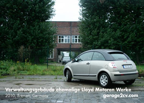 Hauptportal und Verwaltungsgebäude der ehemaligen Lloyd Motoren Werke in der Bremer Richard-Dunkel-Straße im Jahre 2010. Bild: Jan Eggermann / Archiv Garage 2CV
