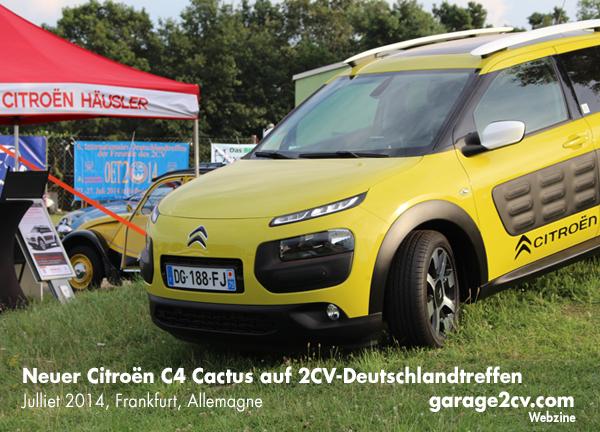Neuer Citroën C4 Cactus als Ausstellungsstück von Citroën Häusler / 6. Internationales 2CV Deutschlandtreffen, Hofheim-Diedenbergen, Juli 2014, Bild: garage2cv