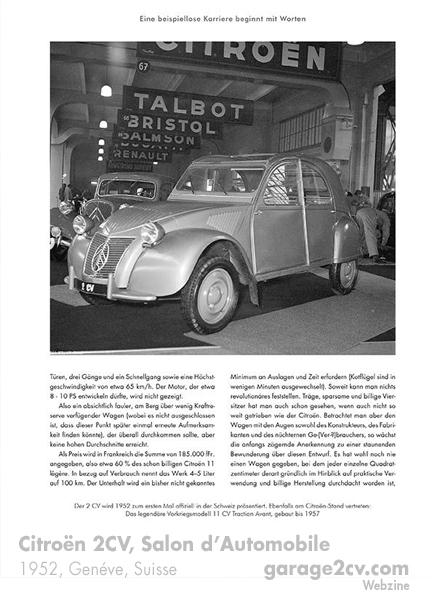 Vor 62 Jahren stand erstmals ein Döschwo auf dem Genfer Automobilsalon.  Bild aus Der Döschwo in der Schweiz / Archiv garage 2cv