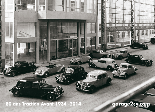 In der lichtdurchfluteten Halle des Citroënwerkes am Quai de Javel: Die TA-Typen 1934/35. Das Vorgängermodell 10CV ist am untern und oberen rechtenBildrand erkennbar.