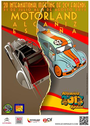 Zentrale Themen: Spanische 2CV-Geschichte und Motorsport im 2CV auf dem offiziellen Plakat zum 20. Weltententreffen 2013.