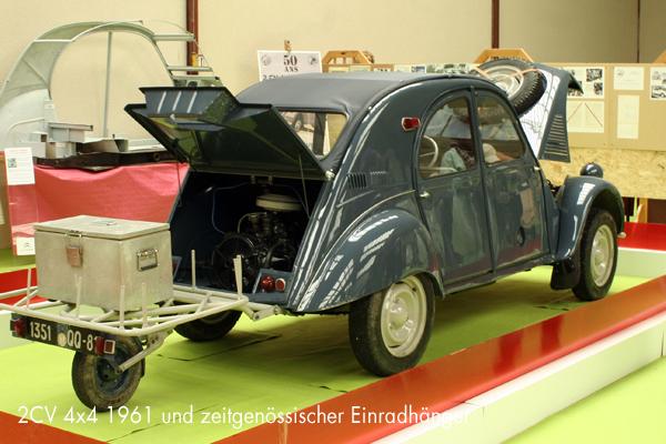 2CV 4x4 mit zeitgnenössischem Einradhänger - garage2cv.de