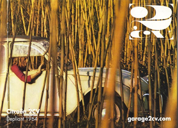 1964: Die Aussage des 2CV-Marketing ändert sich in den Sechzigern, denn die Ente ist nicht länger nur funktionaler Lastesel, sondern zunehmend auch Freizeitmobil. Depliant Citroën / Titelbild Prospekt Citroën 1964.