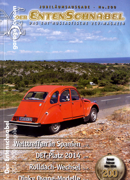 garage2cv sagt herzlichen Glückwunsch: Das deutschsprachige 2CV Magazin Der Entenschnabel erscheint jetzt in zweihundertster Ausgabe!