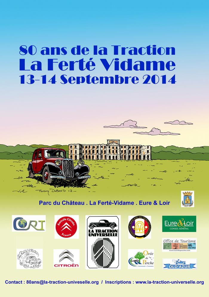 """Die Geburtstagsfeier """"80 Jahre Traction"""" findet auf dem Gelände der Schloßruine von La Ferté-Vidame in unmittelbarer Nähe der Citroën-Versuchsstrecke statt."""