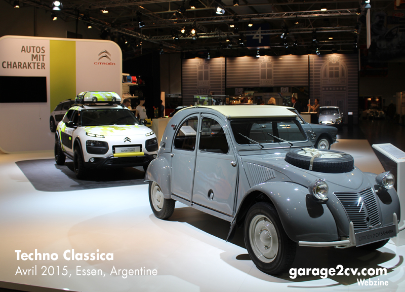 Outdoor-Cars: Geländestudie des Cactus und die berühmte Allrad-Ente 2CV 4x4 am Citroën-Stand auf der Techno Classica 2015. Bild: Garage 2cv