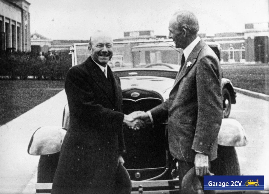 André Citroën trifft Henry Ford mehrmals, oben sind beide in Detroit zu sehen.