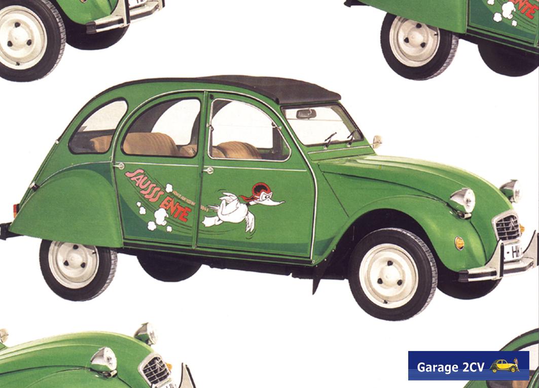 Sausss-Ente: 2CV-Sonderserie von 1987. Allein in Deutschland werden bis 1990 296.826 Enten verkauft! Bild: Citroën / Garage 2CV