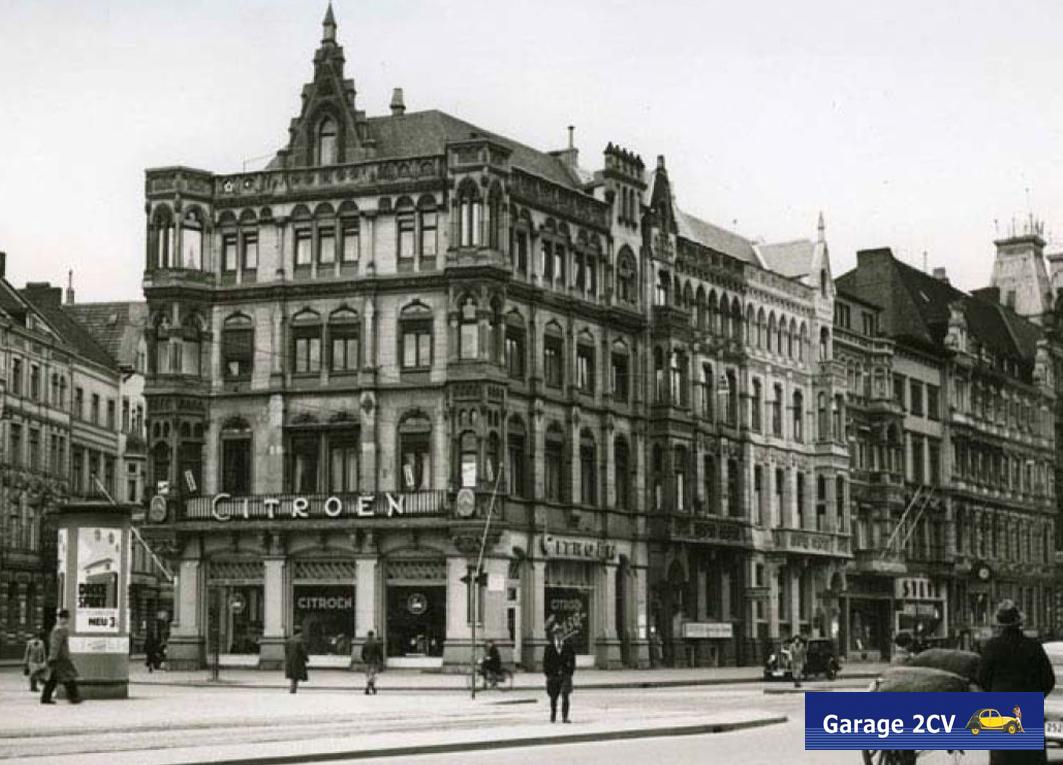 Kölner Citroën-Verkaufsraum am Hohenzollernring/Ecke Limburger Straße zur Zeit der Rosalie-Rekordfahrten. Bild: Citroën