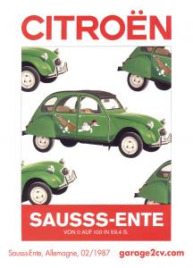 """""""Das Riesenrolldach zeigt, dass die Sausss-Ente ein ausgesprochener Sommervogel ist: Durch Aufklappen läßt sich die Wirkung der Frischluft-Ventilation noch steigern."""" Aus einem Citroën-Werbeblatt vom Februar 1987."""