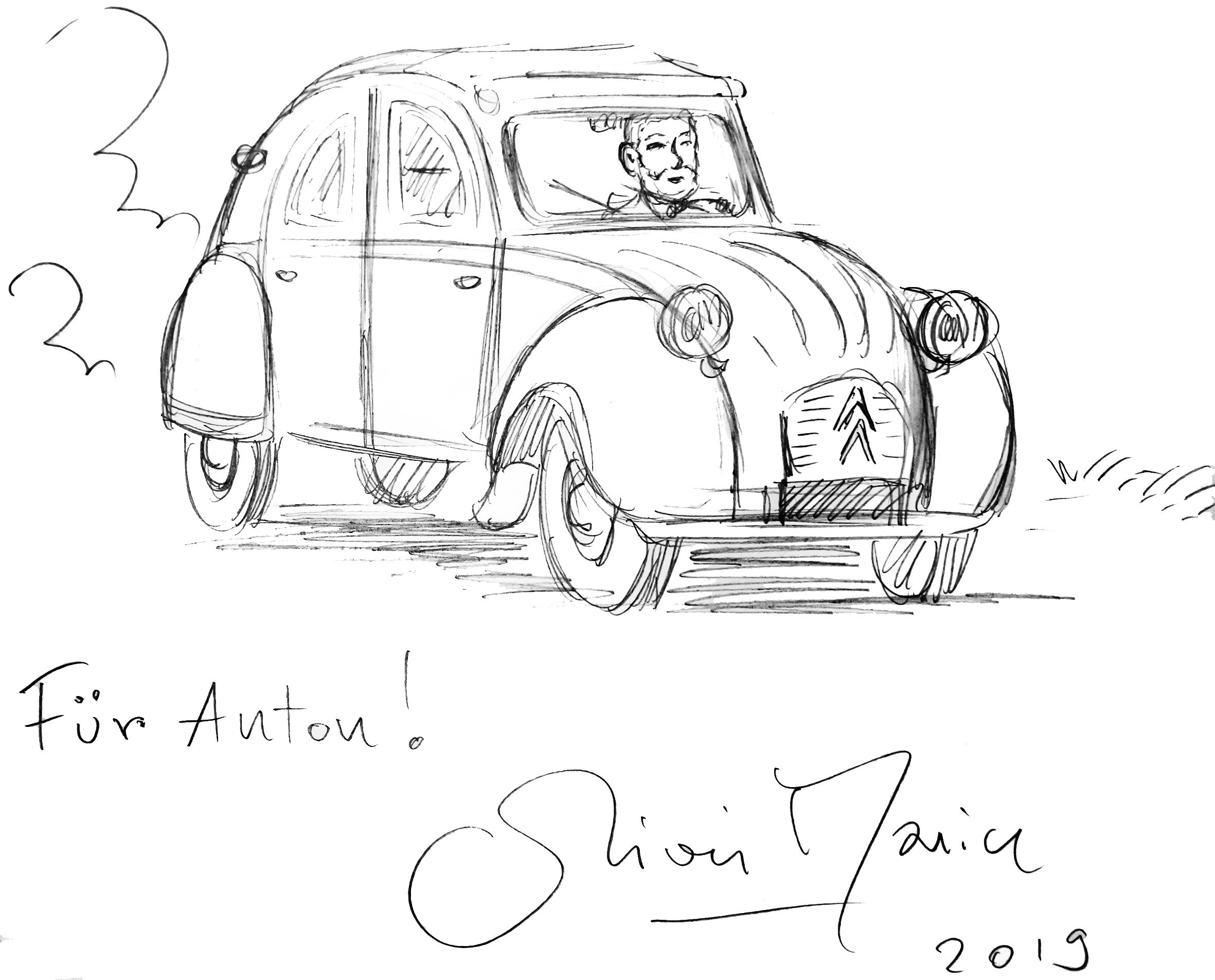 Anton Wolfpril in einer Zeichnung von Olivier Marin.