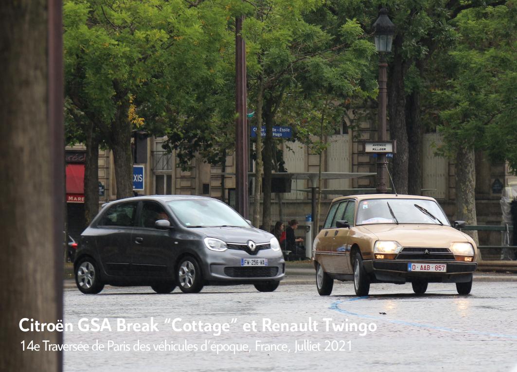 Citrën GSA Cottage avec Renaltu Twingo - 14e traverseée de Paris estivale en véhicules anciens - Garage 2CV