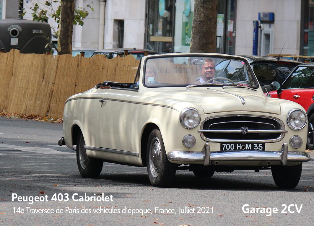 Peugeot 403 Cabriolet - 14e traverseée de Paris estivale en véhicules anciens - Garage 2CV